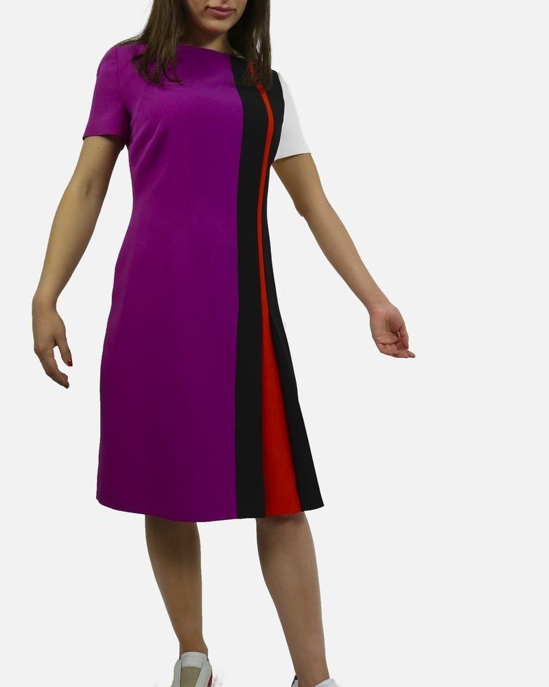 Robe graphique en soie violette Fendi