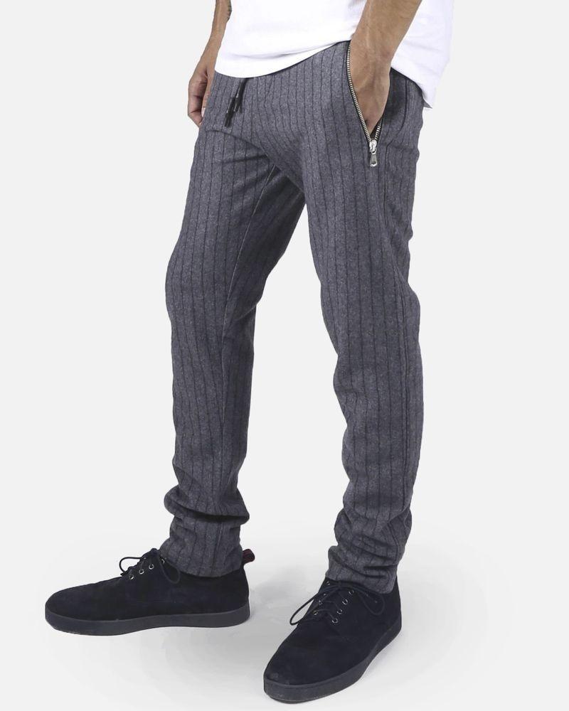Pantalon en laine gris à rayures