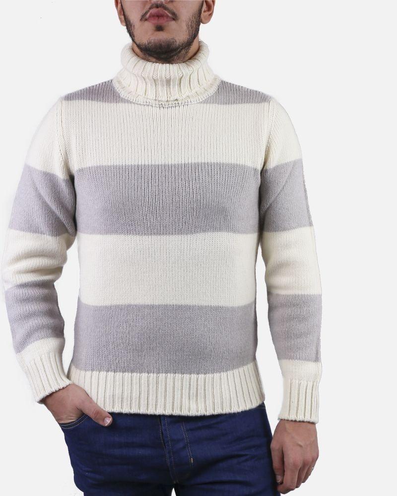 Pull col roulé en laine beige rayé Casheart