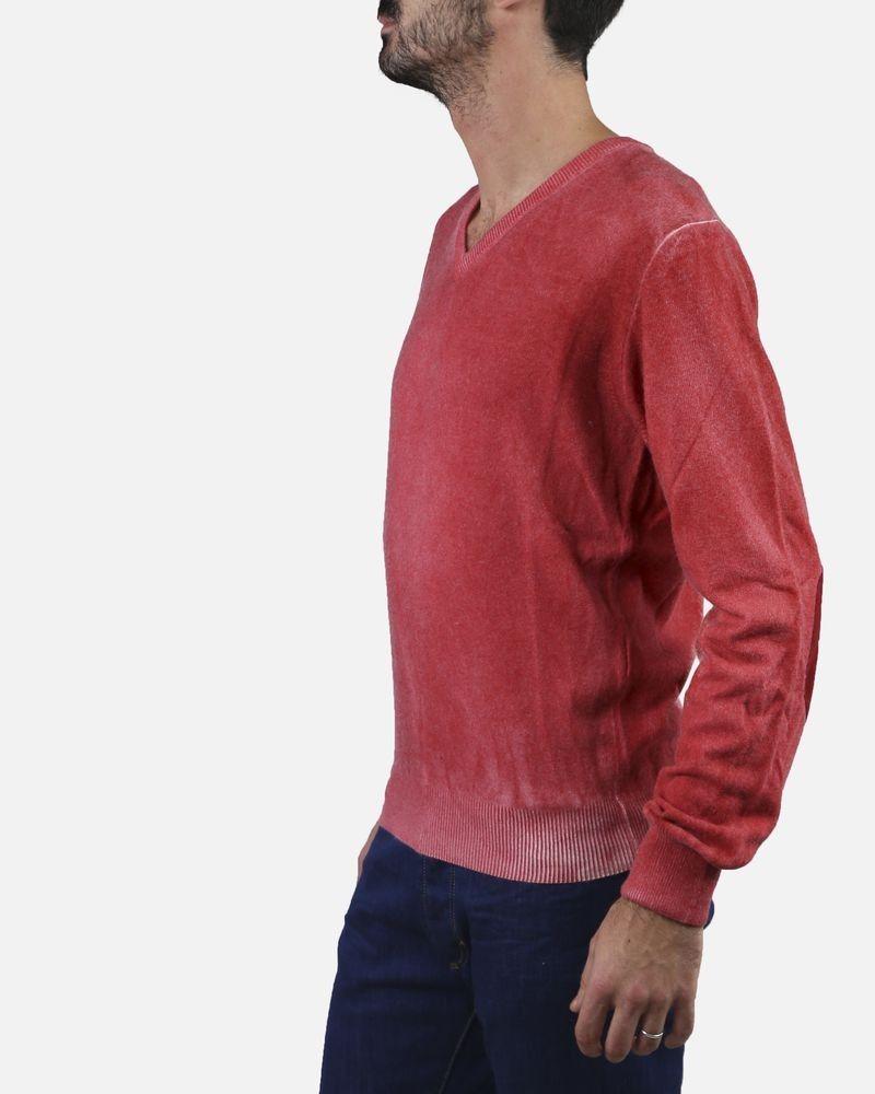 Pull rouge col V avec coudières Casheart