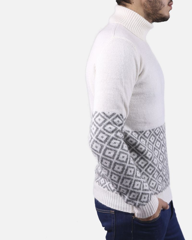 Pull blanc col roule Panicale
