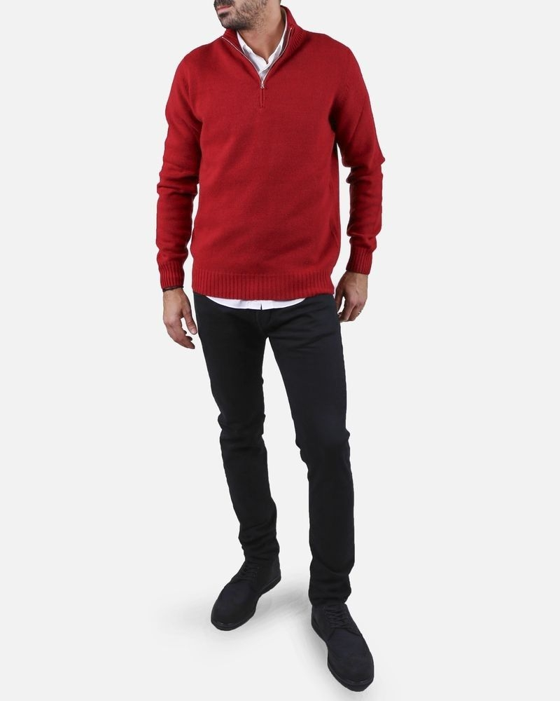 Pull rouge col montant zippé Panicale