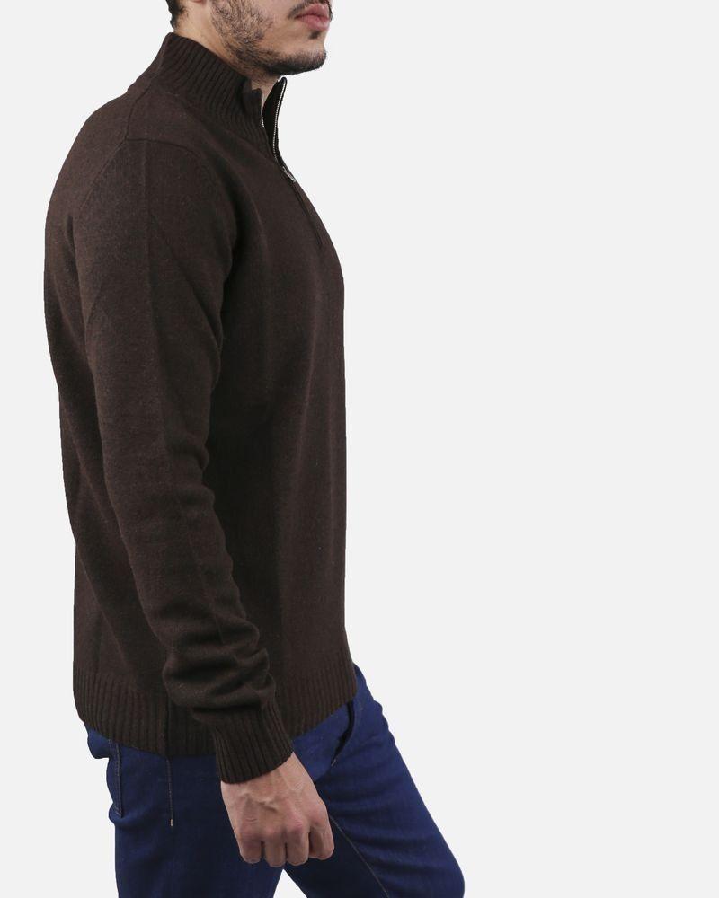 nouvelle arrivee le plus populaire dernière vente Pull marron col montant zippé Panicale pas cher - Outlet La ...