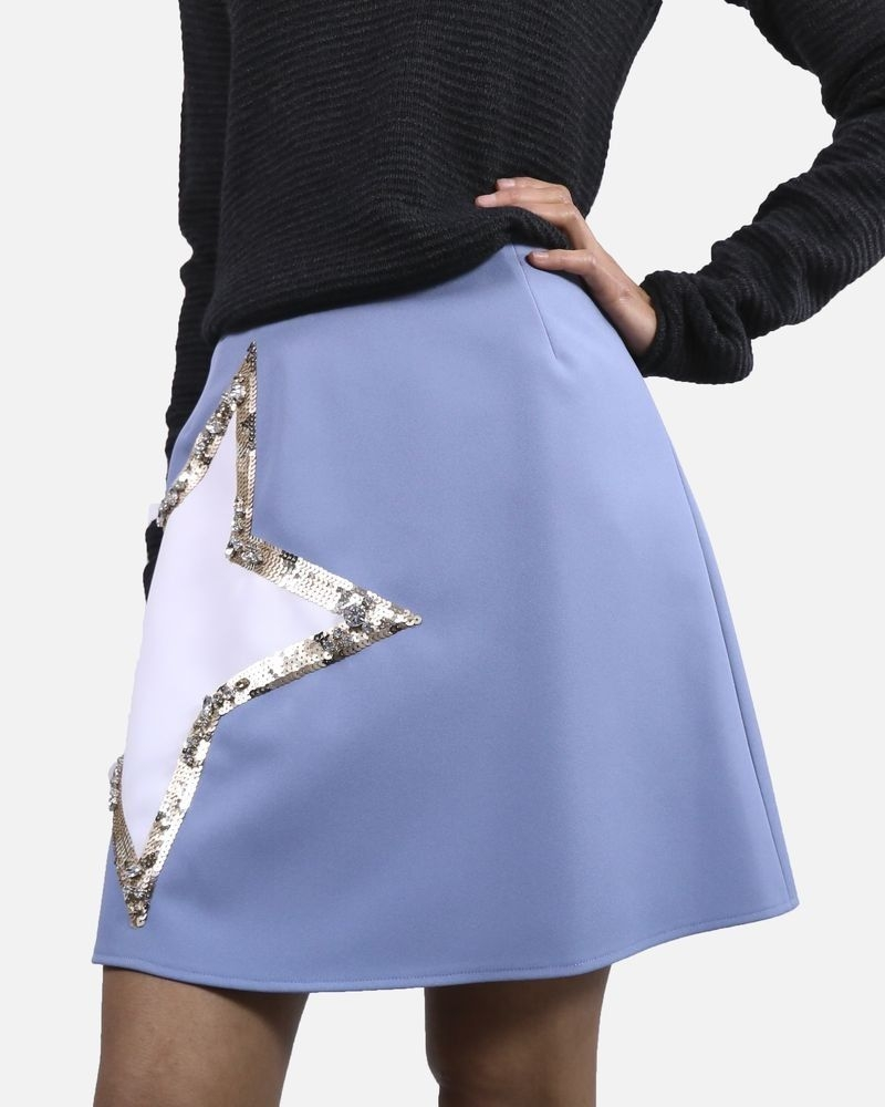 Jupe bleue avec etoile à sequins Elisabetta Franchi