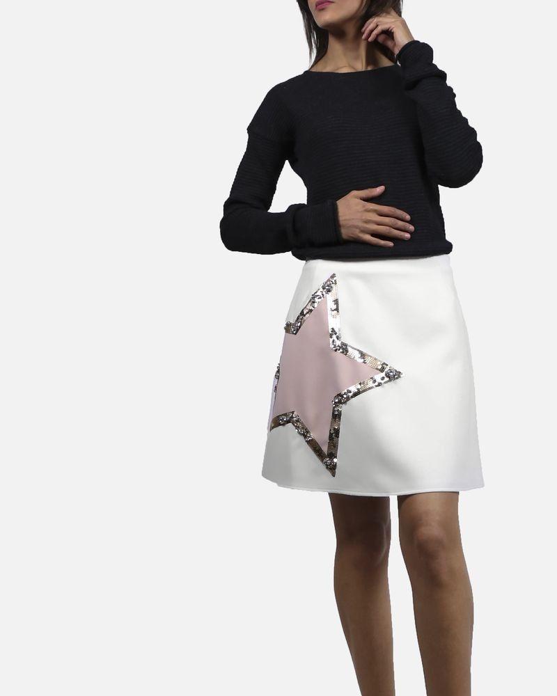 Jupe blanche avec étoile à sequins Elisabetta Franchi