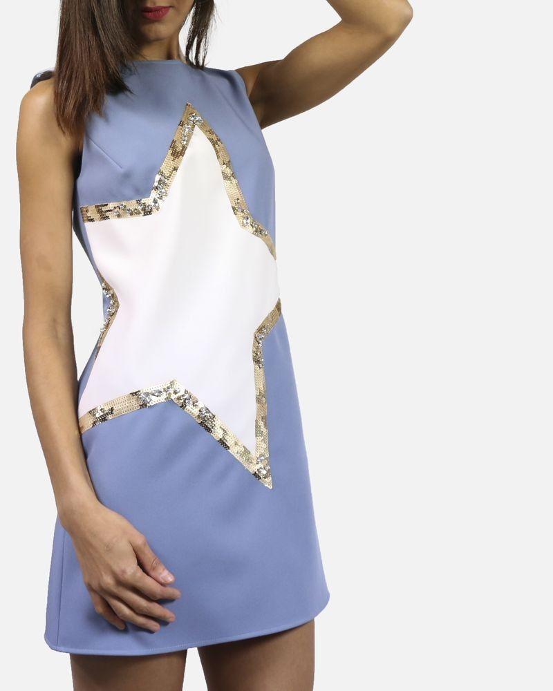 Robe bleue avec étoile à sequins Elisabetta Franchi