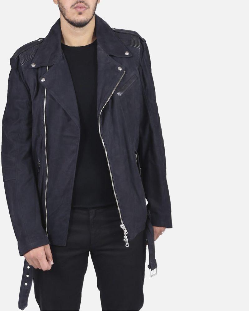 Veste de motard noir texturée en cuir Lords & Fools