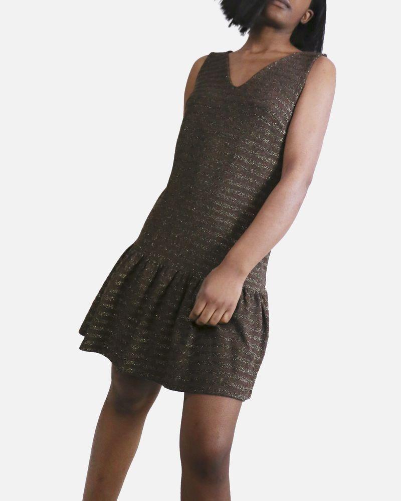 Robe marron rayée Jijil