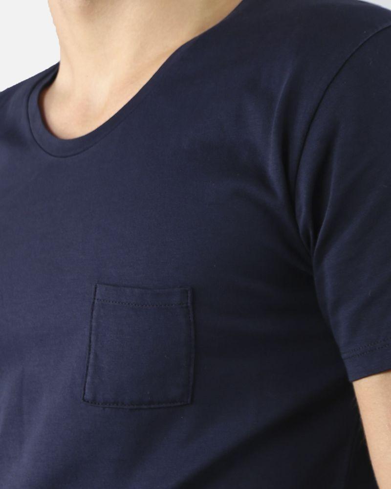 T-Shirt bleu col rond une poche Vneck
