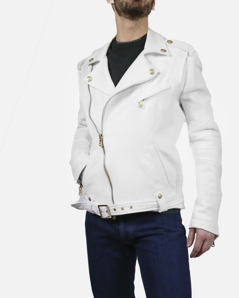 Blouson blanc façon perfecto Pierre Balmain