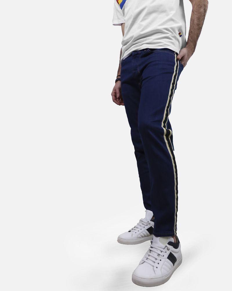 Jean bleu à bandes contrastantes Low Brand