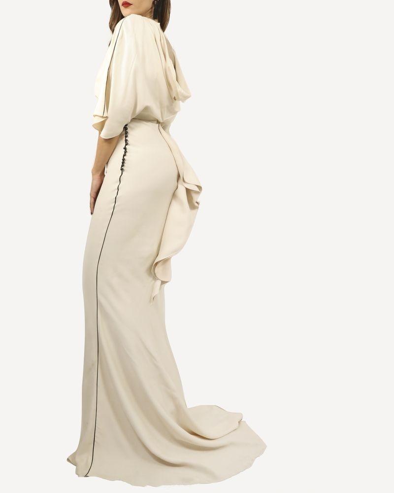 Robe de cocktail longue passepoilé et perleé Elisabetta Franchi