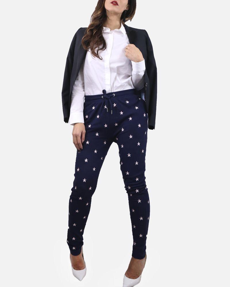 Pantalon de jogging bleu avec étoiles rose Zoe Karssen