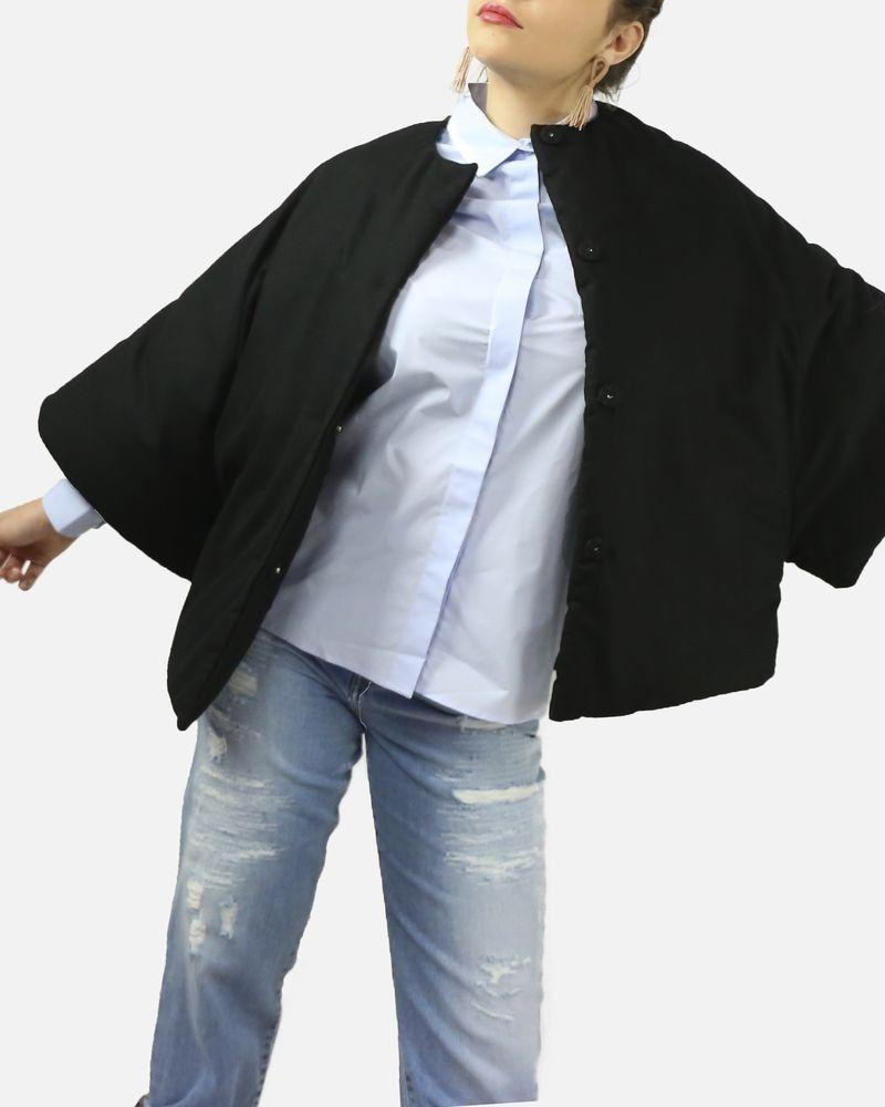Blouson noir bombé en laine et cachemire