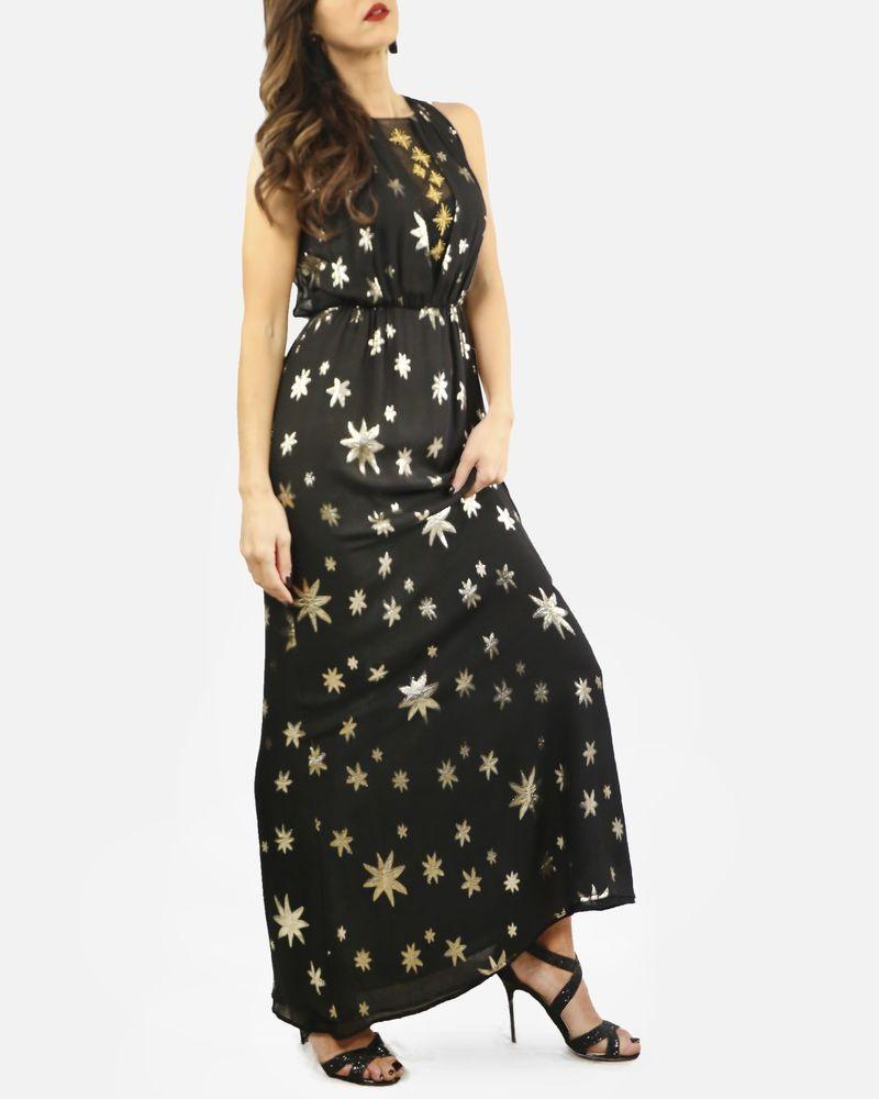 Robe longue noire broderie dorée en soie Space Style Concept