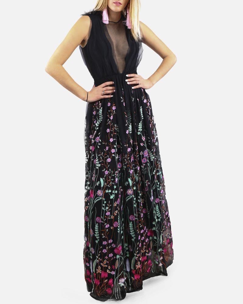 Robe longue noir en tulle brodé fleurs Space Simona Corsellini