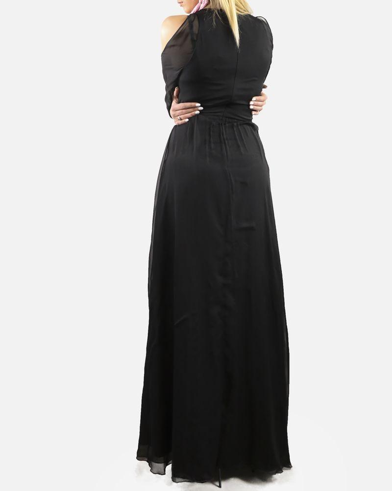 Robe longue noir à épaules nue Space Style Concept
