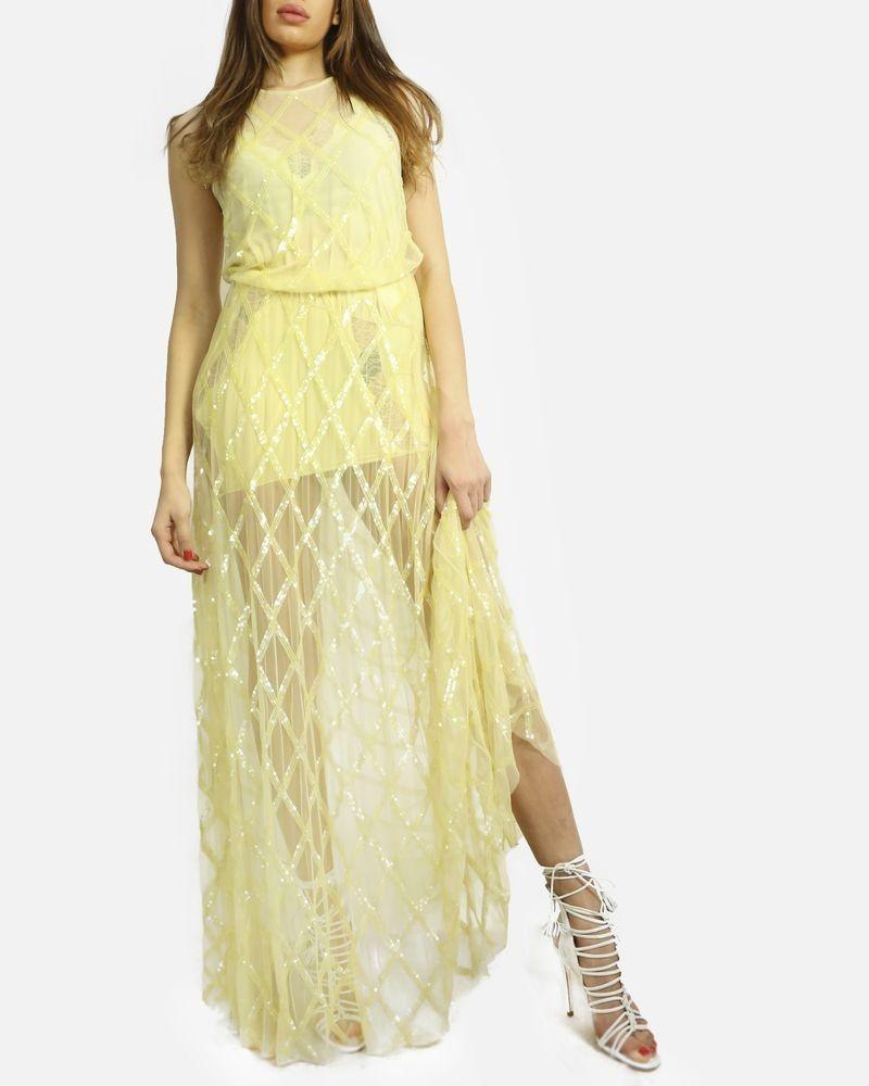 Robe jaune en tulle de soie brodée de sequins Elisabetta Franchi