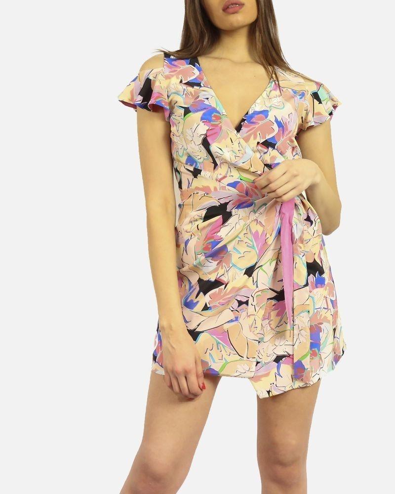 Robe cache cœur en soie imprimé floral Roberto Cavalli
