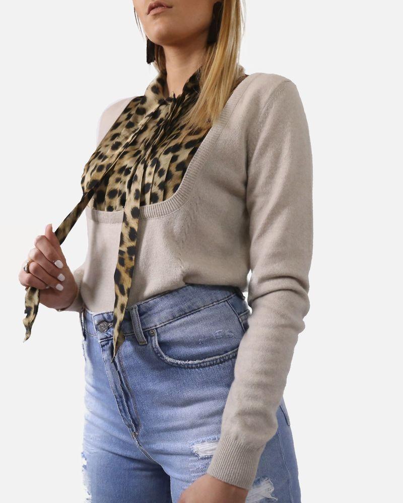 Pull chemise en maille et satin léopard Blumarine