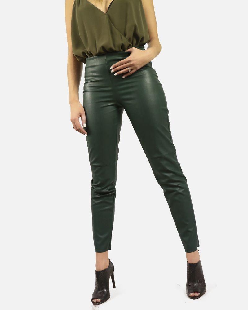 Legging en simili cuir vert Jijil