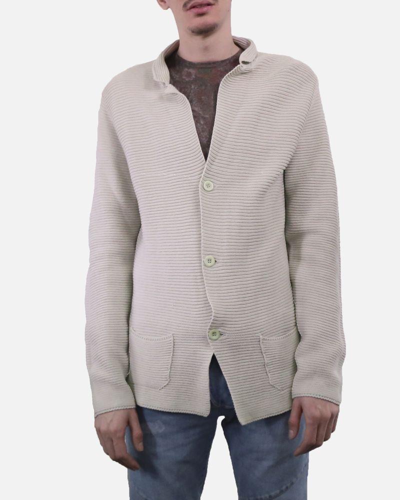 Gilet en coton beige côtelé à poches Vneck
