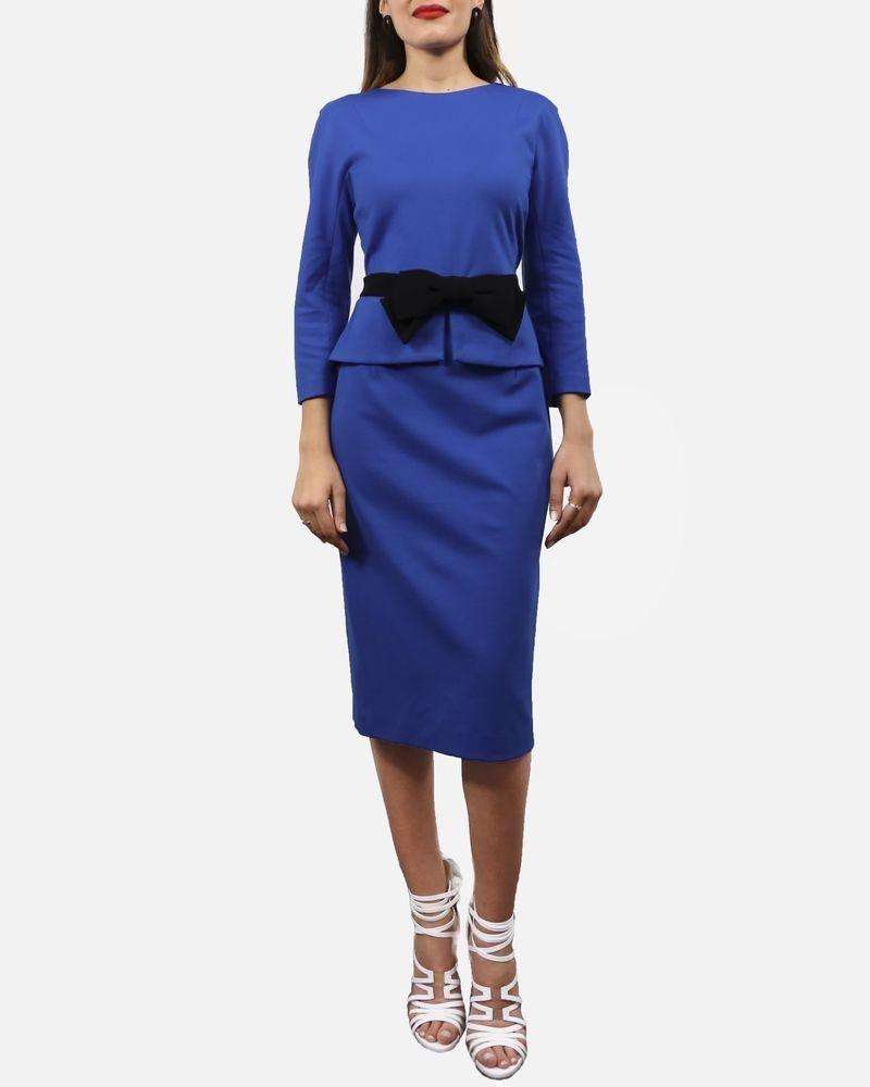 Robes à basque bleu avec nœud noir Ki