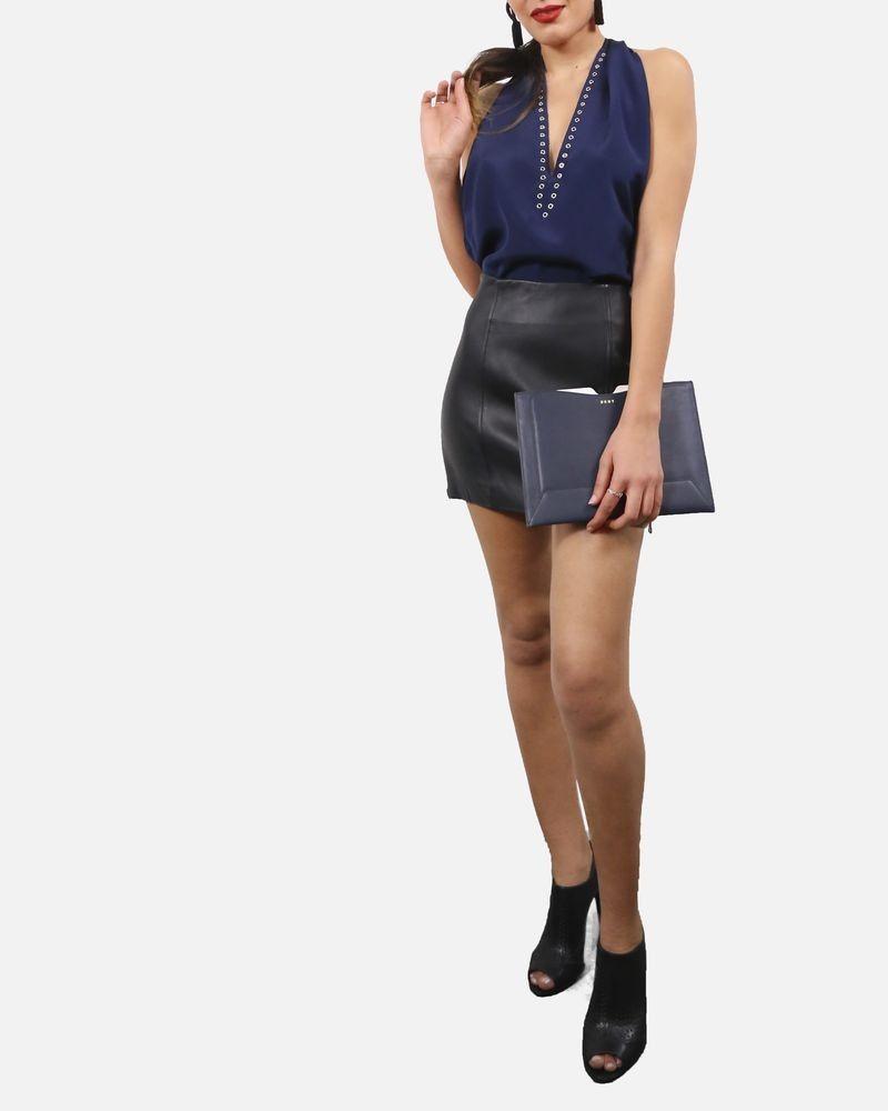 Mini jupe en cuir noir Pierre Balmain