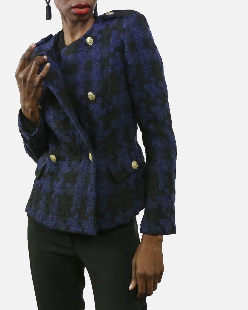 Veste en laine bleu imprimé pied de poule à boutons dorées Pierre Balmain