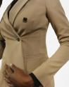 Veste blazer croisée en laine beige Elisabetta Franchi
