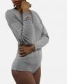Body en laine grise à bouton dorée Elisabetta Franchi