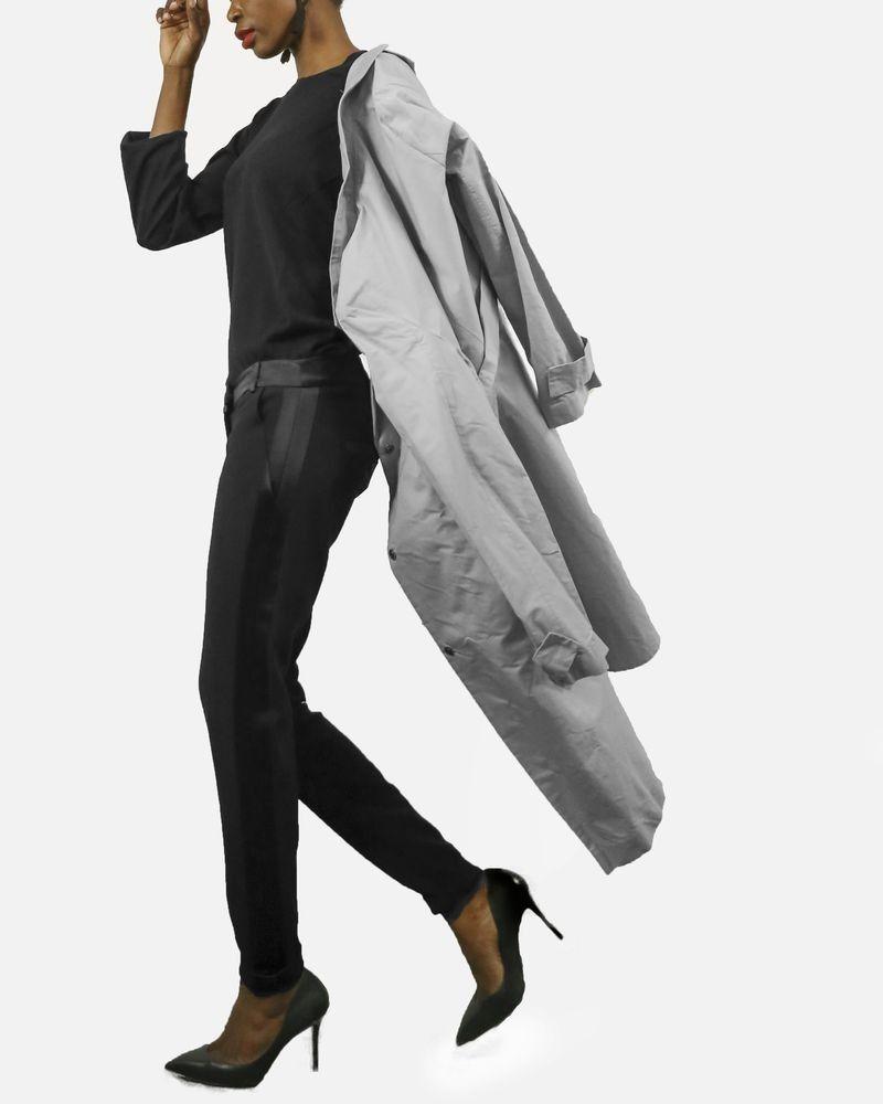 Trench Coat minimaliste gris en coton Hache