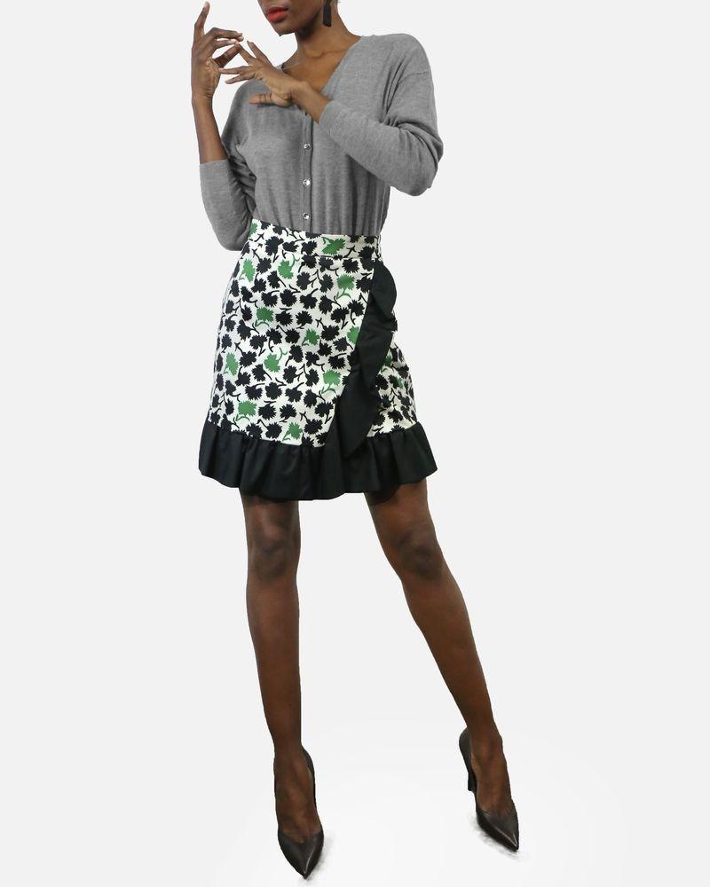 Jupe portefeuillecourte blanche à impriménature noir et vert à volant Emanuel Ungaro