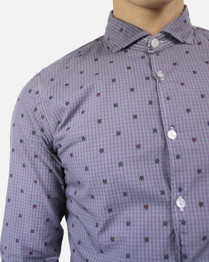 Chemise en coton gris à fleurs & carreaux Dickson