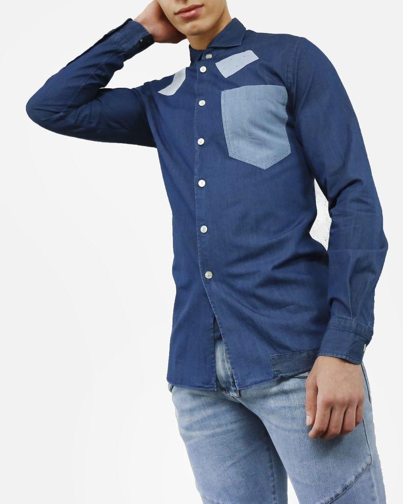 74c0f491e6d74 Chemise en jean bleu à patchwork Dickson pas cher - Outlet La Pisci...