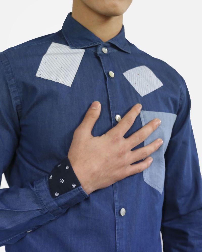 Chemise en jean bleu à patchwork Dickson