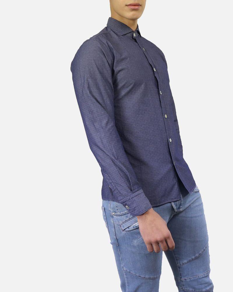 Chemise en coton bleu à pois effet taffetas Dickson