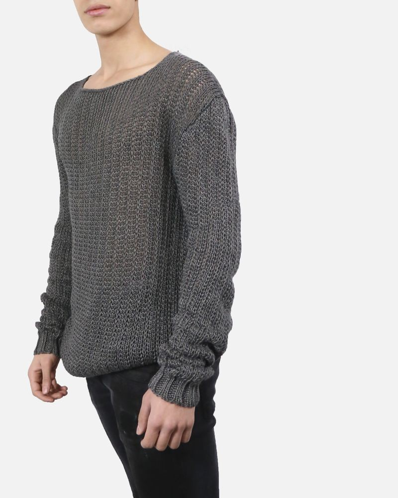 Pull long grosse maille gris Lost & Found