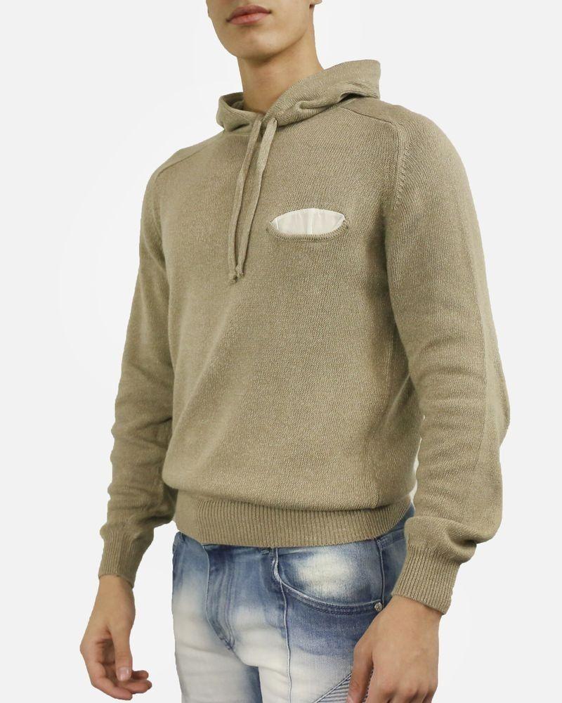 Pull en coton beige à capuche Woolgroup Fiesoli