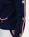 Pull bleu à galons tricolore & bouton fantaisie Edward Achour