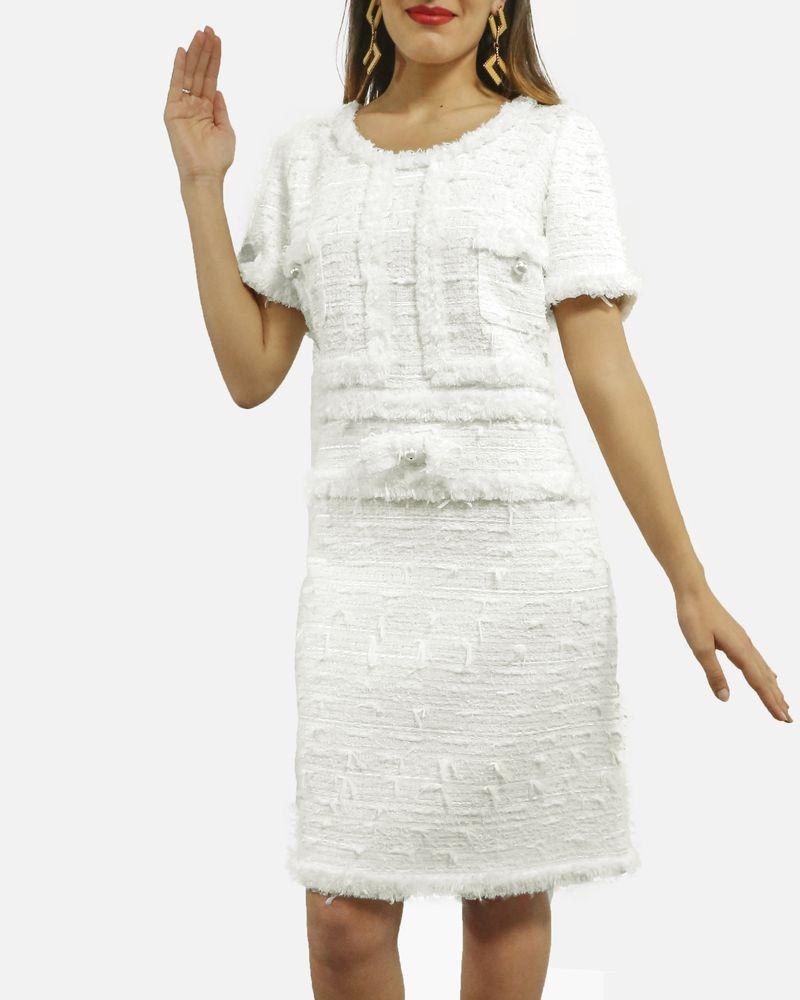 Robe courte en tweed blanc Edward Achour