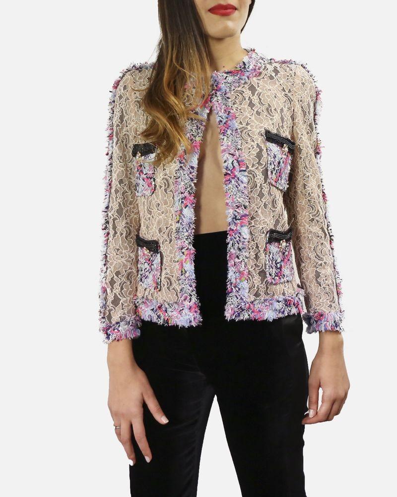 Veste en dentelle rose à galons rose/violet Edward Achour