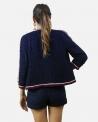 Veste en tweed bleu à galon tricolores Edward Achour
