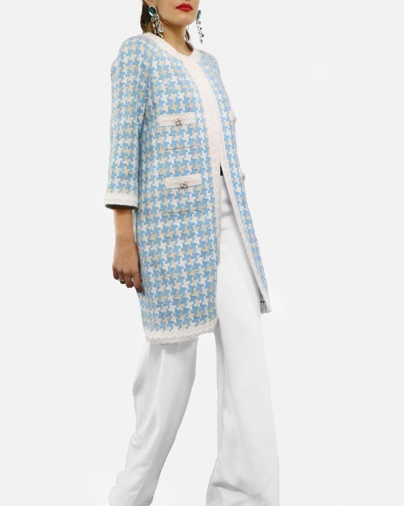 Manteau en tweed bleu à motif géometrique blanc Edward Achour