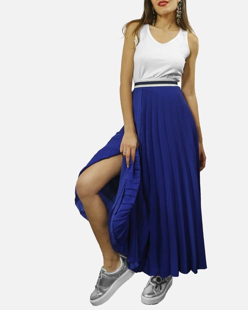 Jupe plissée longue bleu électrique Laurel