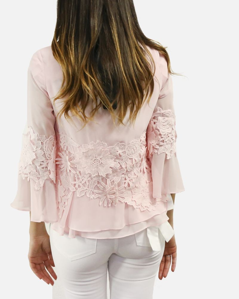 Blouse en mousseline rose à incrustation de guipure Edward Achour