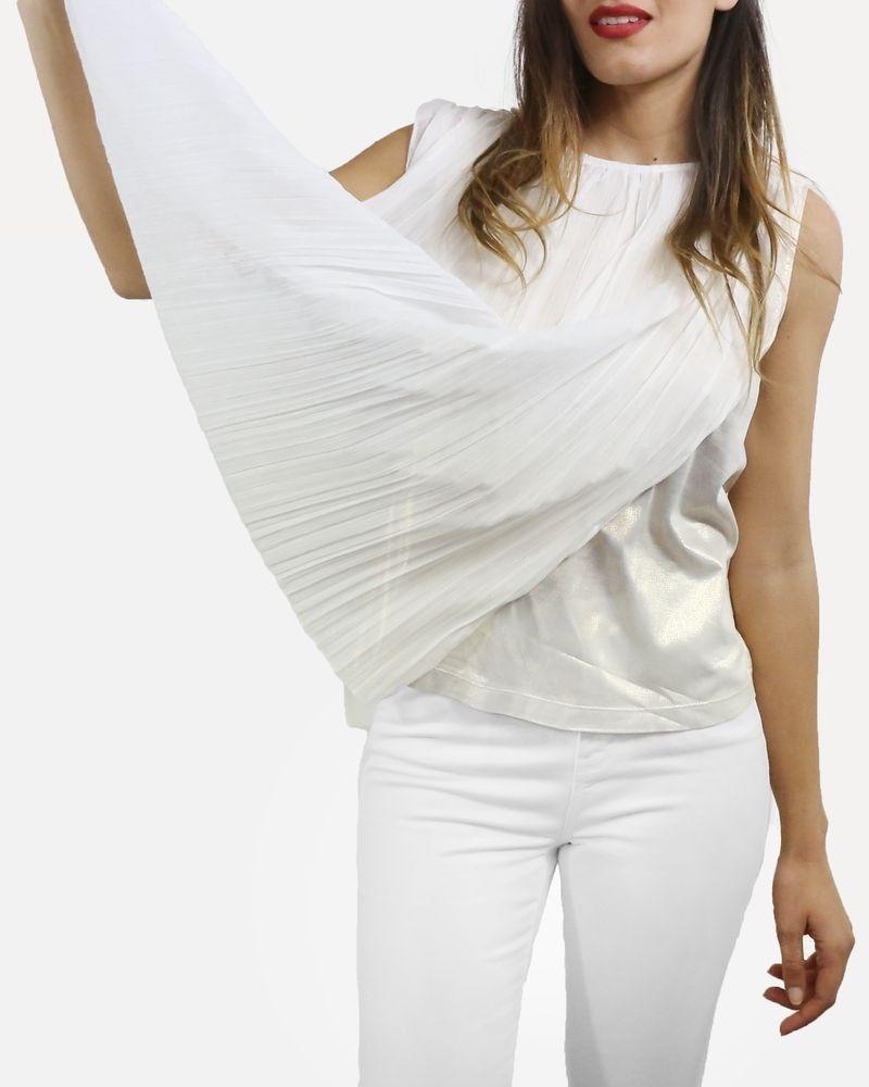 Top plissé lamée blanc Jijil