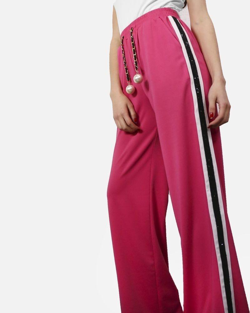 Pantalon de jogging rose à bandes latérales à sequin & ceinture fantaisie Edward Achour