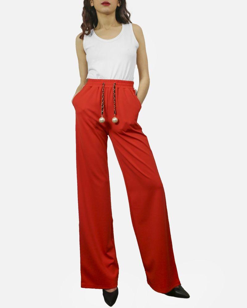 photos officielles fabd7 5e80d Pantalon de jogging rouge à bandes latérales à sequin & ceinture fantaisie  Edward Achour