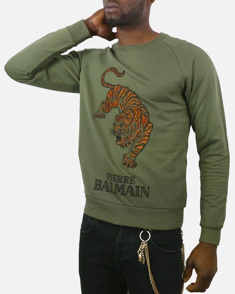Sweat vert kaki à broderie «Tigre» Pierre Balmain